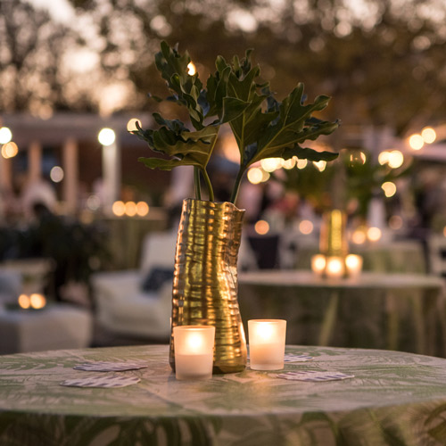 a view of one of the tables set up at the event showcasing a green plant in a golden vase