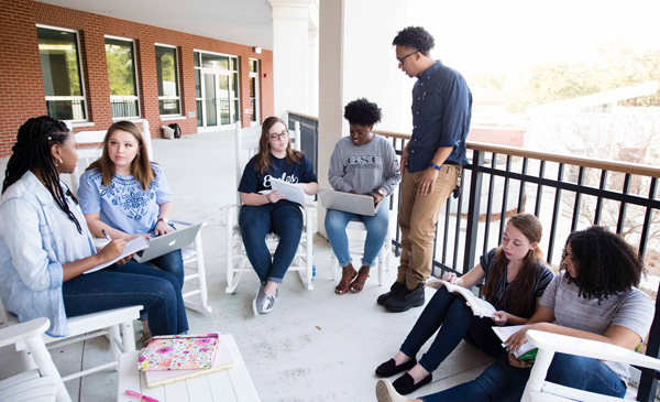 group of seven students sitting outside studying as a group