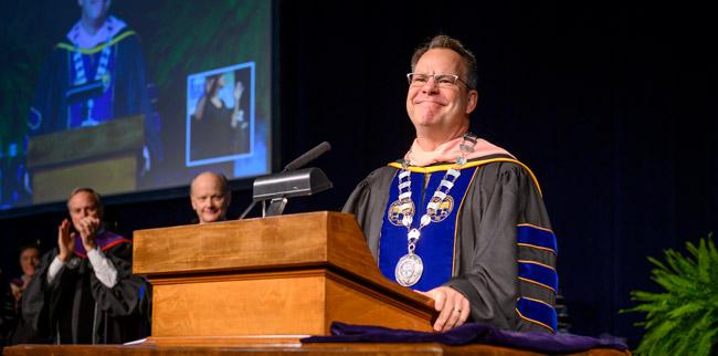 President Kyle Marrero at his Investiture Ceremony