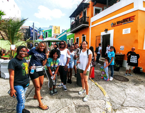 Group of TRIO students on the streets of Puerto Rico