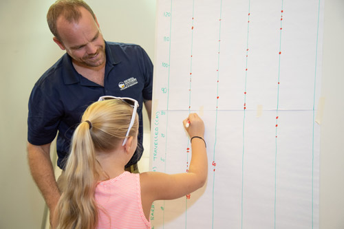 young girl writing on a large sheet of paper showing points of data