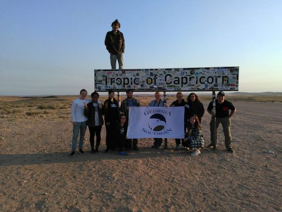 Georgia Southern students at the Tropic of Capricorn in Africa