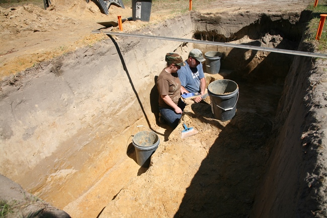 Students and archeologist film an episode of TIME TEAM AMERICA at Camp Lawton in Millen, Georgia. Camp Lawton, which at the close of the Civil War, was believed to be the largest prison camp in the world