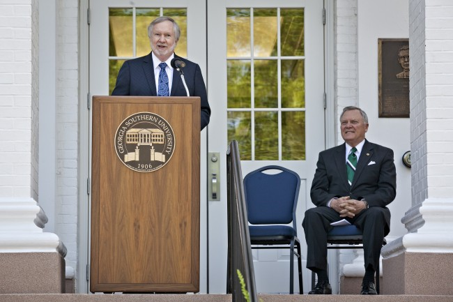 President Brooks A. Keel Ph.D., speaks on the steps of the Marvin S. Pittman Administration building as Georgia Governor Nathan Deal looks on, April 24, 2012. Governor Deal says he encourages all colleges to follow Georgia Southern's lead to expand the promise of the REACH scholarship.