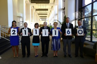 $2.1 million raised during 'A Day for Southern.' Pictured left to right are: America Minc, Campus Co-Chair, Stephen Rossi, Campus Co-Chair, Phyllis Thompson, Community Chair,     Brooks A. Keel, Georgia Southern President, Salinda Arthur, Vice President for University Advancement, Tom Kleinlein, Athletics Director and Alex Grovenstein, Director of Annual Giving.