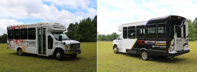 The bus, shown above, takes inspiration from Betty Foy Sanders' artwork.