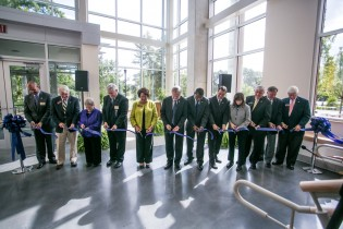 Georgia Southern President Brooks A. Keel, Ph.D., leads the ribbon-cutting at the new Biological Sciences Building.