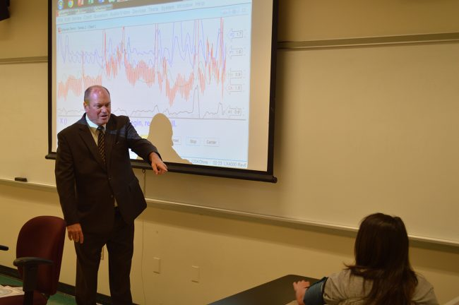 A professor lectures students on the lie detector test