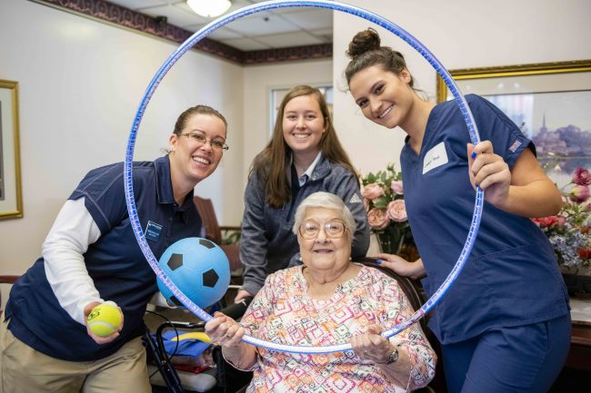 Waters College of Health Professions students organized health fairs in multiple locations in Chatham County, including one at Buckingham South assisted-living facility, shown above.