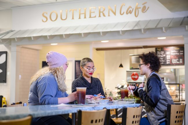 Students on the Georgia Southern University Armstrong Campus enjoy some of the healthy offerings from the Southern Cafe.