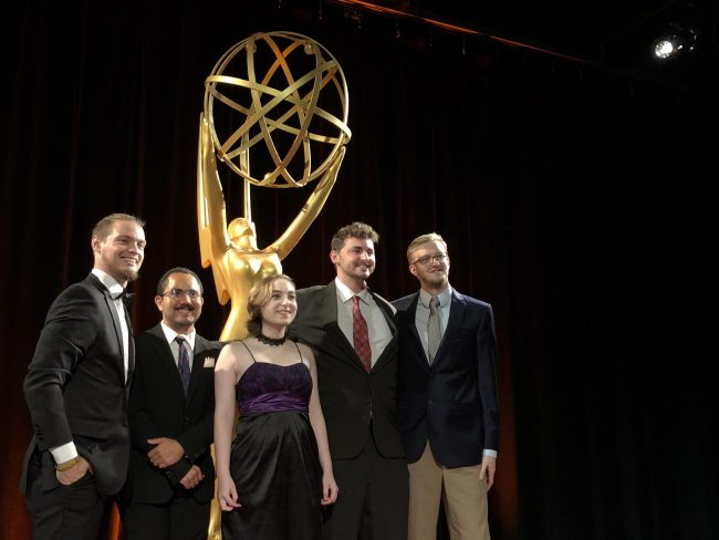 Georgia Southern Multimedia Development Center Emmy award winners include, from left,  Bradon Holder, Senior, Electrical Engineering Major, Orange Park, FL, Serggio Montero, Senior, Computer Science Major, Savannah, GA, Melanie Denton, Senior, Multimedia Film and Production Major, Statesboro, GA, Robert Wright, Graduated, Multimedia Film and Production Major, Macon, GA, and Brian Cox, Senior, Computer Science Major, Richmond Hill, GA.