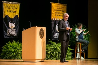 Georgia Southern President Brooks Keel, Ph.D., delivers the annual State of the University address during the 2013 Fall Convocation.