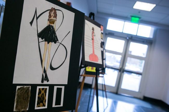 Fashion drawings in hallway