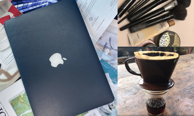 """A laptop, makeup and coffee are examples of some of the items submitted for the senior art exhibition """"Good Without."""" Inspired by the COVID-19 pandemic, senior art student Lann Le asks the question """"What could you live without?"""""""