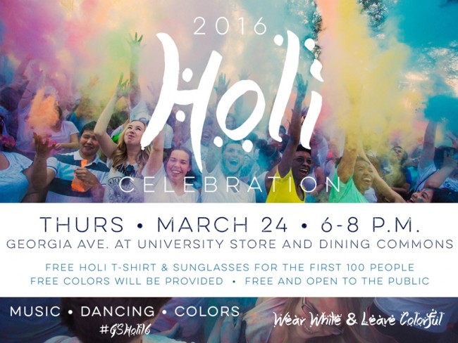 Holi Fest 2016-students throwing colors in the air