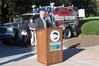 Georgia Southern President Brooks A. Keel, Ph.D., welcomed the Governor's Office of Highway Safety to campus during a Thursday news conference.