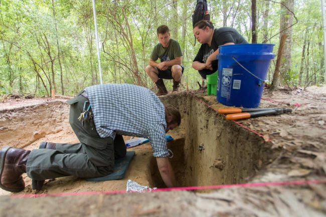 McNutt will work with students during the project in Jenkins and Burke counties as he did at Camp Lawton, shown above. Students will get invaluable research and archeological experience during the project.