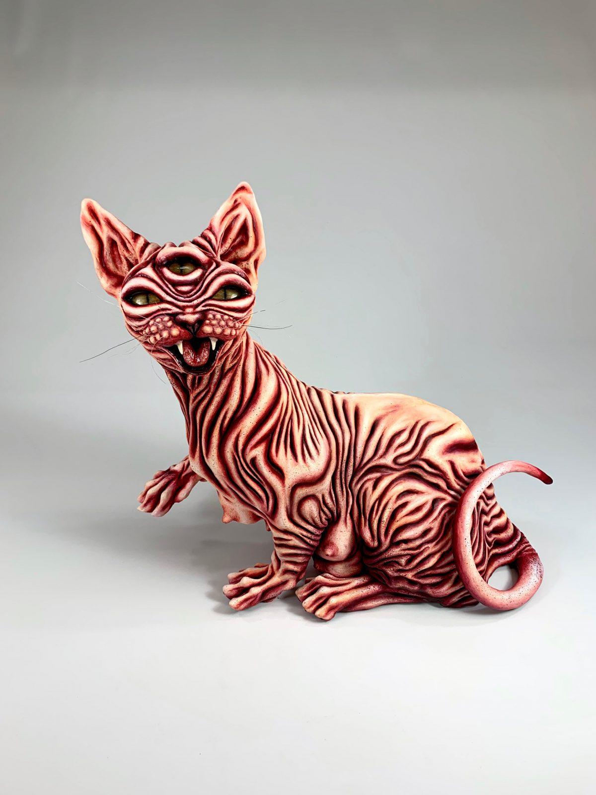 Kimberly Barron's cat sculptured artwork