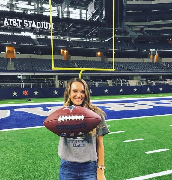 Recent Georgia Southern graduate Maddie Keen toured AT&T Stadium where the Dallas Cowboys play during a trip to Dallas with the Georgia Southern Sales Competition Team. Keen will move to Dallas to start her career with AT&T in August.