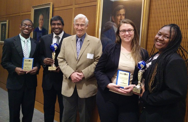 Pictured are (L to R): Jonathan Quintyne, Dylan John, Dick Calkins ( with the International Academy of Dispute Resolution), Jessica Shanken and Tashai Gilman.