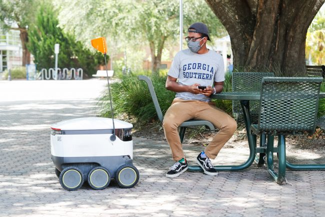 Starship contactless food delivery robots, shown above, will be bringing people food and drinks on the Statesboro Campus starting this fall.
