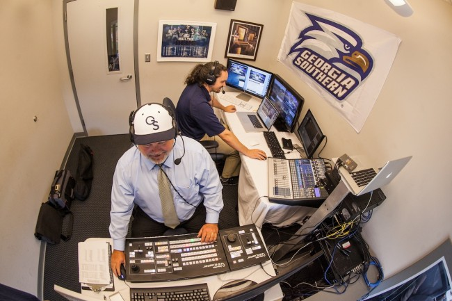 "Art Berger (front) and Jeremiah Womble direct live footage for ""Inside Georgia Southern Baseball."" Georgia Southern University received four 2014 Emmy Award Nominations."