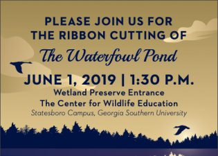 Georgia Southern University will hold a ribbon cutting ceremony for The Waterfowl Pond this Saturday, June 1, at 1:30 p.m.