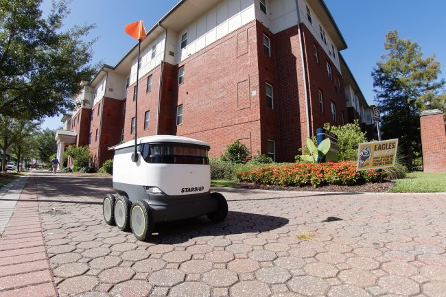 The Starship robots have six wheels and are about the size of a cooler.